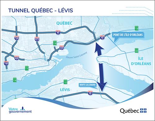 Le scénario privilégié pour le troisième lien par Québec ne miserait plus sur un tracé passant près de l'île d'Orléans. CRÉDIT : MTQ - ARCHIVES.